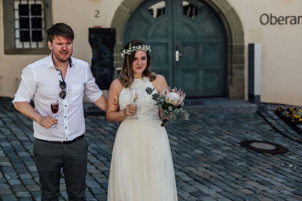 Hochzeitsfotograf Stuttgart Boho Hochzeit Sektempfang Ansprache